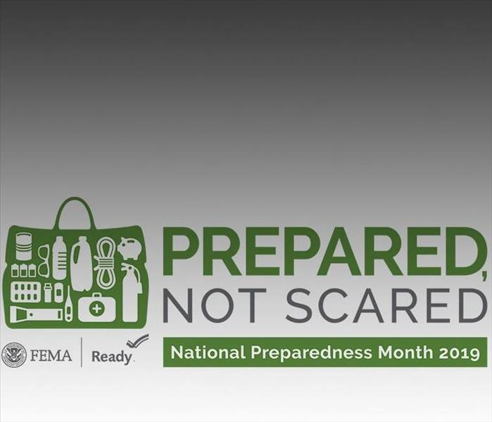 "gray background with emergency item icons and wording of ""PREPARED NOT SCARED"""