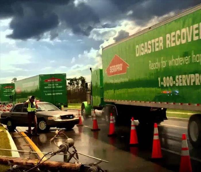 SERVPRO storm damage disaster response team in action