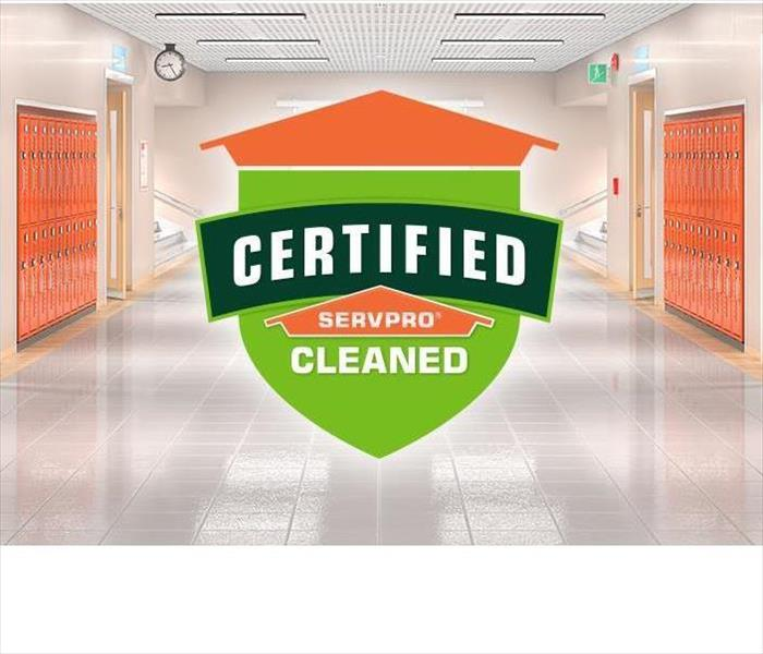 School Locker Room Area with Certified: SERVPRO Cleaned Logo